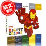 现货 英文原版 漫威英雄辨色书 幼儿认知 早教辅助 认识颜色 (2―4岁) 硬纸书 Mighty Colors