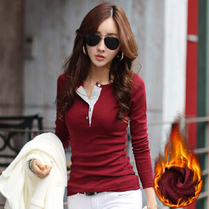 冬季新款T恤女装大码长袖t恤小衫加绒加厚打底衫女秋冬
