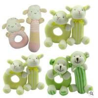 韩国婴儿玩具0-3-6-12个月新生儿男女孩宝宝毛绒布艺益智摇铃套装