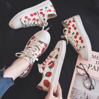 樱桃草莓帆布鞋女低帮春季新品水果印花小白鞋女学生日系可爱风板鞋女鞋子潮