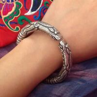 复古银匠手工银镯子 龙的传人愿瑞祥双龙纯银手镯