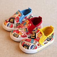 春秋涂鸦儿童鞋帆布鞋男童女童宝宝单鞋板鞋