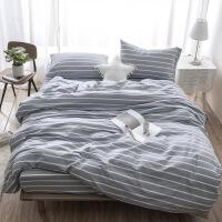 日式简约水洗棉床上用品四件套 纯棉条纹新疆棉被套被罩床单枕套