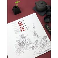 菊花 白描技法精解 中国画动物花鸟工笔画底稿书 白描勾线画谱美术绘画初学者入门到精通基础教程 线描写生范例画家写生画稿书