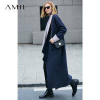 【AMII大牌日折上2件4折】AMII[极简主义]艺术 100%羊毛毛呢外套女 秋新撞色开襟长大衣