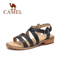 Camel/骆驼女鞋 夏季新款 休闲方跟罗马鞋 百搭露趾凉鞋