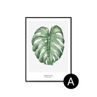 北欧风装饰画 现代简约风格餐厅植物挂画客厅黑白画卧室床头 壁画 70*100 铝合金黑色(带有机玻璃) 单幅价格,