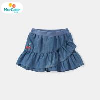 【1件3折】马卡乐童装22夏新款女宝宝时尚甜美纯色牛仔短裤