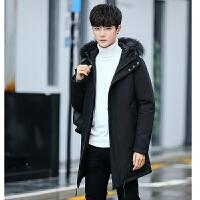 冬装新款男士连帽羽绒服男潮韩版修身中长款外套羽绒服男