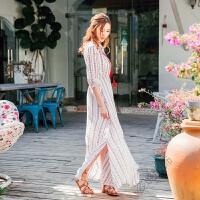 夏季雪纺开叉一字肩连衣裙露肩沙滩裙度假波西米亚七分袖长裙 白色