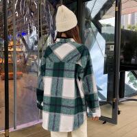 2018新款秋冬女装韩版中长款原宿风格子宽松加厚连帽呢子卫衣外套 绿色 均码