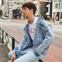 太平鸟男装 男士牛仔夹克春季新品条纹胶印夹克衫青年韩版外套潮