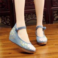 古风汉服鞋女系带绣花鞋坡跟内增高民族风舞蹈鞋日常老北京单布鞋
