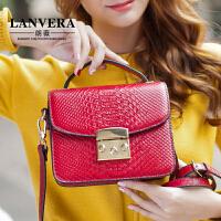 【支持礼品卡】LANVERA 春夏新款包包女包欧美真皮锁扣小方包蛇纹手提小包斜挎包 L2020