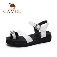 【每满200减100】camel骆驼女鞋 新款时尚夏季女鞋 酷感水钻休闲舒适真皮凉鞋