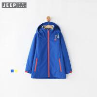 【618大促-每满100减50】JEEP童装 男童户外冲锋衣中大儿童三合一两件套防风防水梭织外套