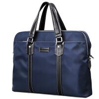 新款潮男包手提包男商务公文包男手拿旅行包大容量男士包包 【蓝色】