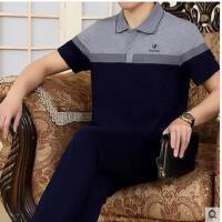 男短袖长裤时尚商务翻领大码跑步服薄款爸爸装两件套中老年运动服套装