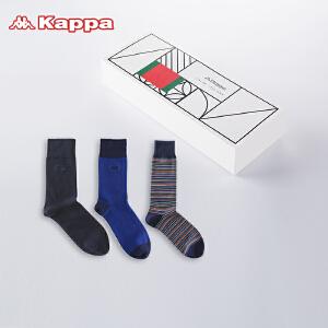 Kappa/卡帕(3双装)男袜长筒袜时尚个性条纹袜子KP8W03