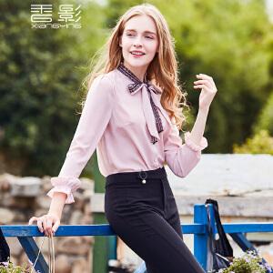 纯色衬衫女 香影2017秋新款蕾丝蝴蝶结系带上衣百搭休闲衬衣长袖