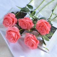 甜梦莱单头玫瑰仿真花绢布5支套装假花塑料花婚庆装饰花束室内花艺客厅