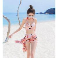 女泳衣三件套 户外新款小胸聚拢带钢托性感温泉裙式比基尼 显瘦游泳装三件