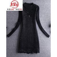 蕾丝打底衫女中长款秋冬新款长袖加绒加厚气质上衣洋气时尚小衫潮 黑色