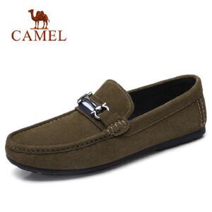 camel 骆驼2018春季新款男鞋牛皮豆豆鞋牛皮休闲套脚轻便驾车鞋