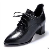 20190923035638345高跟鞋2019春新款小皮鞋女系带尖头中跟单鞋女粗跟黑色百搭工作鞋 黑色