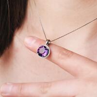 银项链女天然紫水晶吊坠银饰锁骨链饰品生日情人节礼物送女友闺蜜