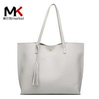 莫尔克(MERKEL)新款时尚女包潮流欧美风范流苏女单肩包时尚休闲手提包简约大包包
