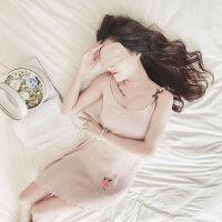 睡衣女夏季纯棉吊带睡裙女夏季甜美可爱冰丝雪纺韩版学生清新无袖 515雪纺玫瑰吊带裙-粉色