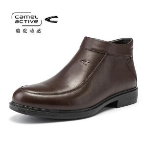 骆驼动感秋冬季男士时尚高帮套脚休闲鞋