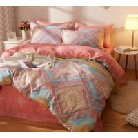 四件套全棉纯棉欧式磨毛秋冬加厚被套床上用品被套 四件套 适用1.8-2m床 建议搭配220*24