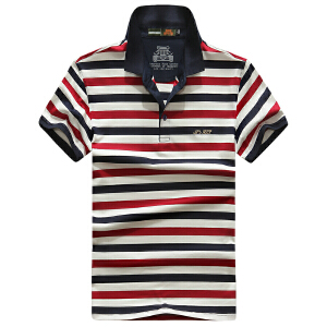 6752夏装新款战地吉普AFSJEEP弹力条纹短袖T恤 大码男士翻领polo
