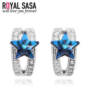 皇家莎莎耳饰S925银耳钉女时尚气质仿水晶星星半耳扣耳环个性首饰