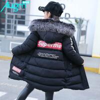 奥戈曼(Augm) 童装2017韩版女童冬装绒布棉衣中长款时尚休闲加厚棉袄外套带毛领