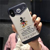 迪士尼苹果Xs max手机壳iphoneX/7/8plus米奇米妮贴皮质浮雕6s/XR 6/6s 贴皮1928米奇