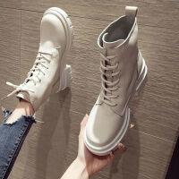 粗跟马丁靴女英伦风2019新款韩版秋季圆头系带机车靴百搭时尚短靴