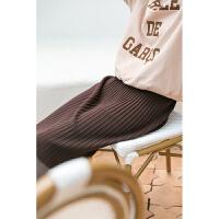 【下单领券立减120元】云上生活女装新潮气质松紧腰百褶裙子休闲垂感针织半身裙Q1081