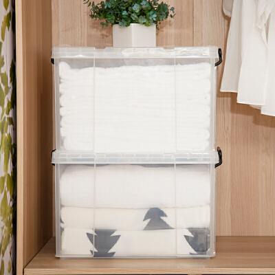 【超品日2件4折,疯抢最后24小时】当当优品 2个装直角透明塑料收纳箱45L 有盖衣物零食整理箱储物箱当当自营 食品级pp材质 透明无杂质 安全健康 尺寸52.3*39.1*32.5cm