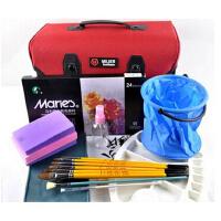实惠10件套装 马利水粉工具水粉颜料套装18/24/36色 画笔工具箱