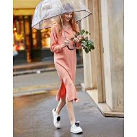 【超品预估价138】Amii极简网红温柔风气质连衣裙2020春季新款纯色Polo领宽松中长裙