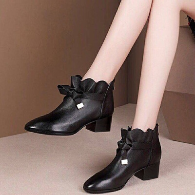 小短靴女秋冬棉靴2019新款中跟粗跟英伦马丁靴及踝靴蝴蝶结单靴女 黑色 【单】内里