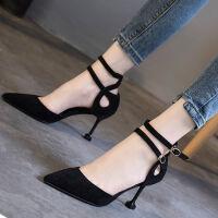 鞋子女学生韩版高跟鞋女细跟2019春夏黑色百搭尖头一字扣单鞋女鞋 黑色 8cm