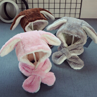 新款秋冬宝宝儿童毛毛帽子围巾一体3男童毛绒帽女童加厚围脖2-5岁