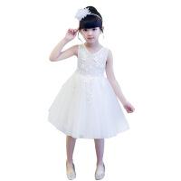 新款欧美雪纺女童背心夏拼接印花公主裙儿童连衣裙婚纱六一演出服