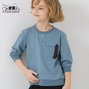 小虎宝儿童装男童纯棉卫衣儿童圆领套头外套中大童2018春款新品