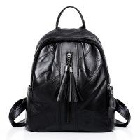 女士双肩背包韩版双肩包女新款女包时尚百搭背包旅行包流苏皮质包包女 黑色