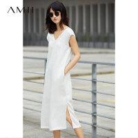 【AMII 超级品牌日】Amii[极简主义]2017夏时尚V领交叉绑带镂空侧开叉连衣裙11772743